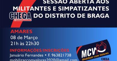 Sessão para militantes e simpatizantes do Chega em Amares a 08 de março
